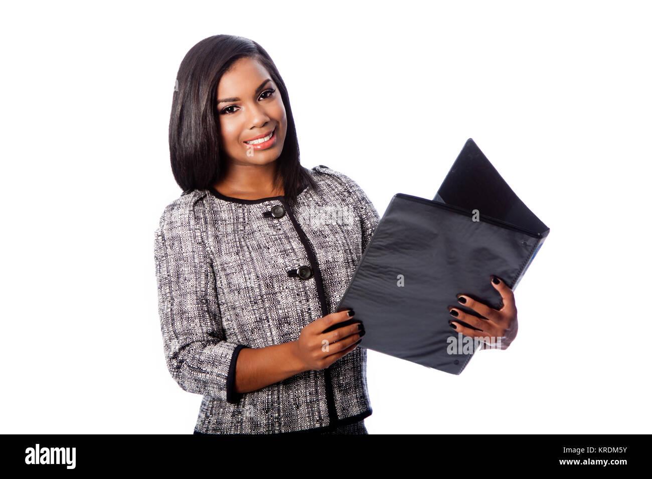 Beautiful business woman with portfolio binder Stock Photo