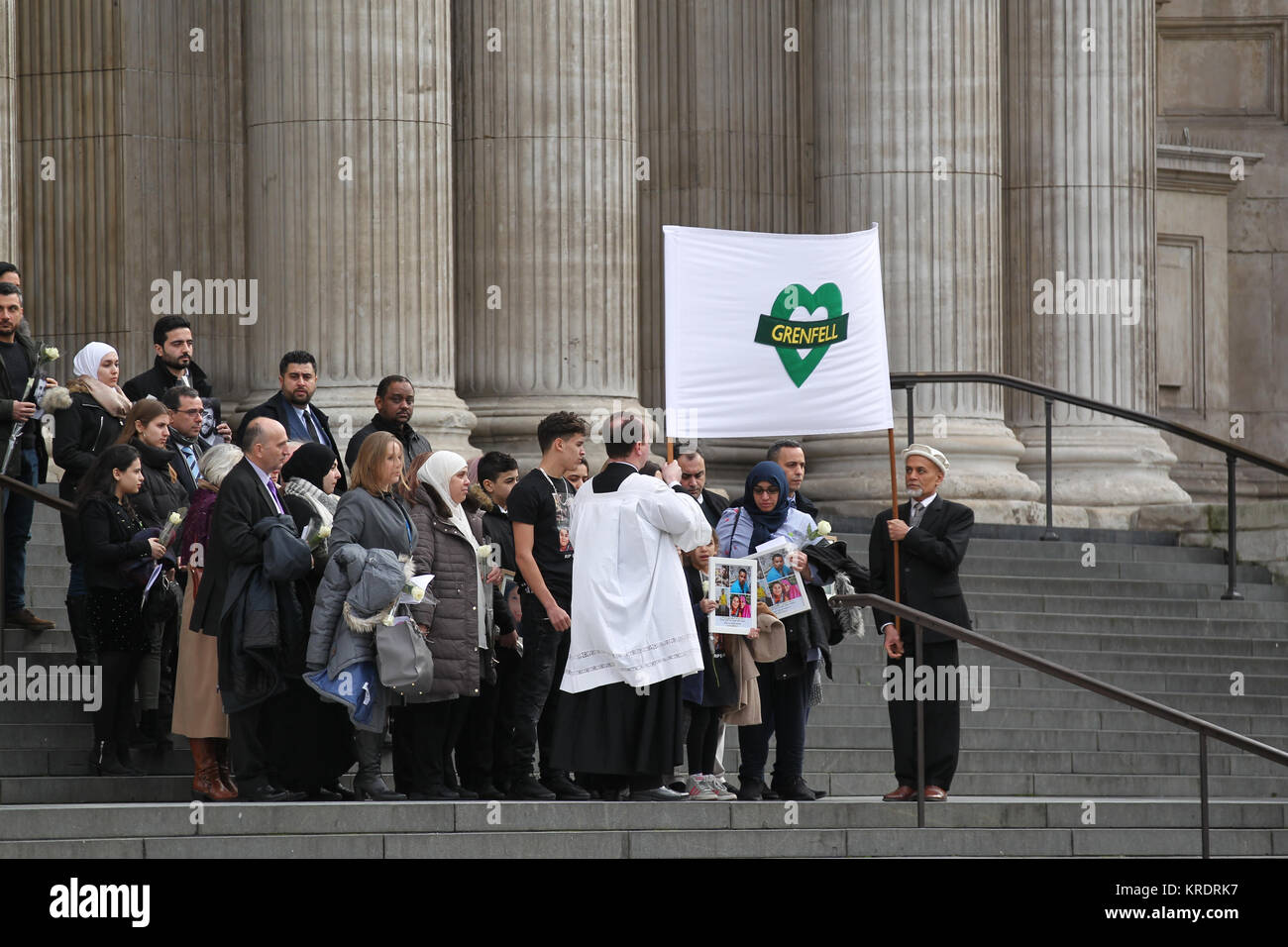 London, UK. 14th December, 2017. Survivors and families of the bereaved attend the Grenfell Tower fire memorial - Stock Image