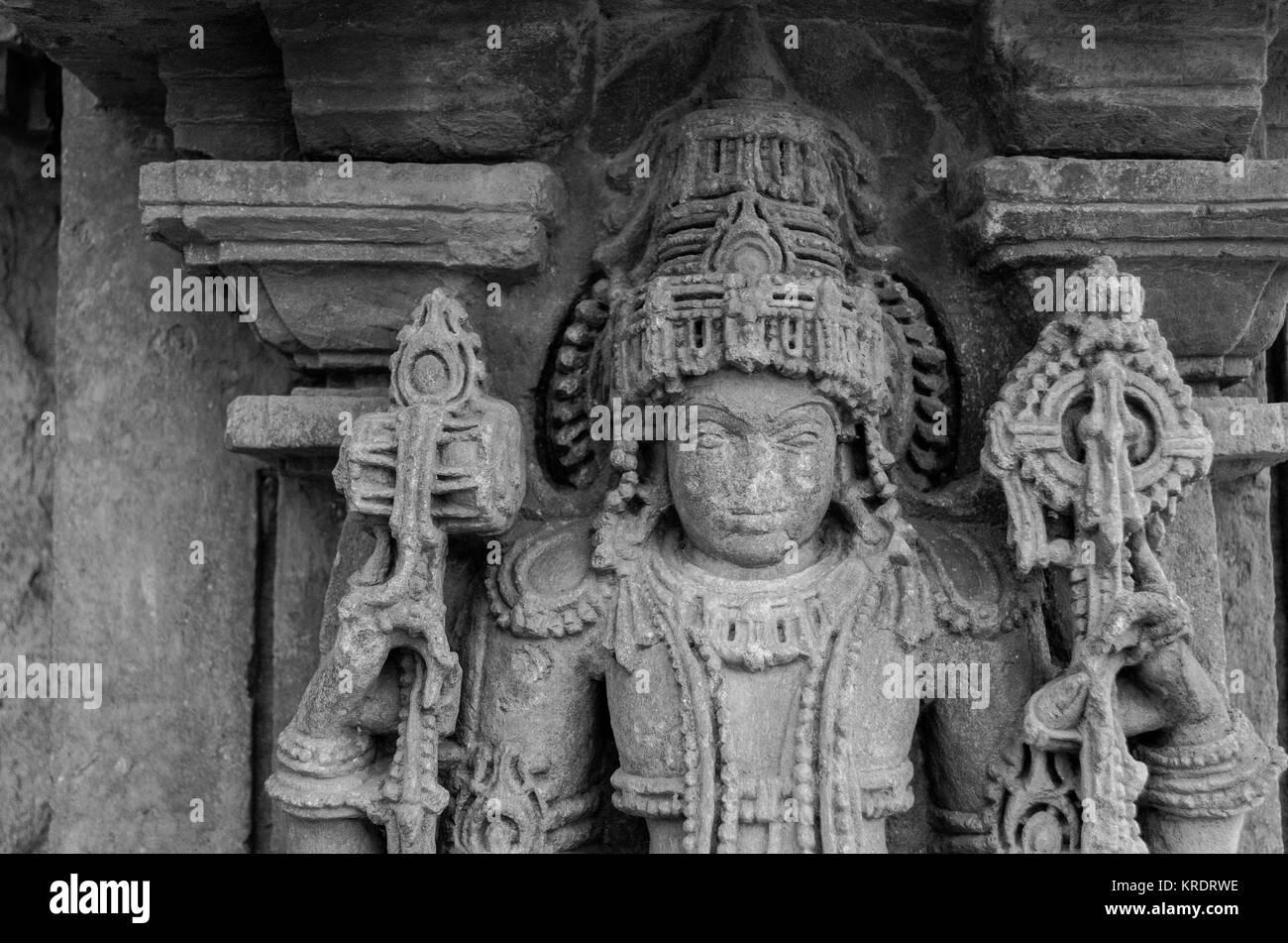 Bhairava Statue in Ruins , Hoysala architecture - Stock Image