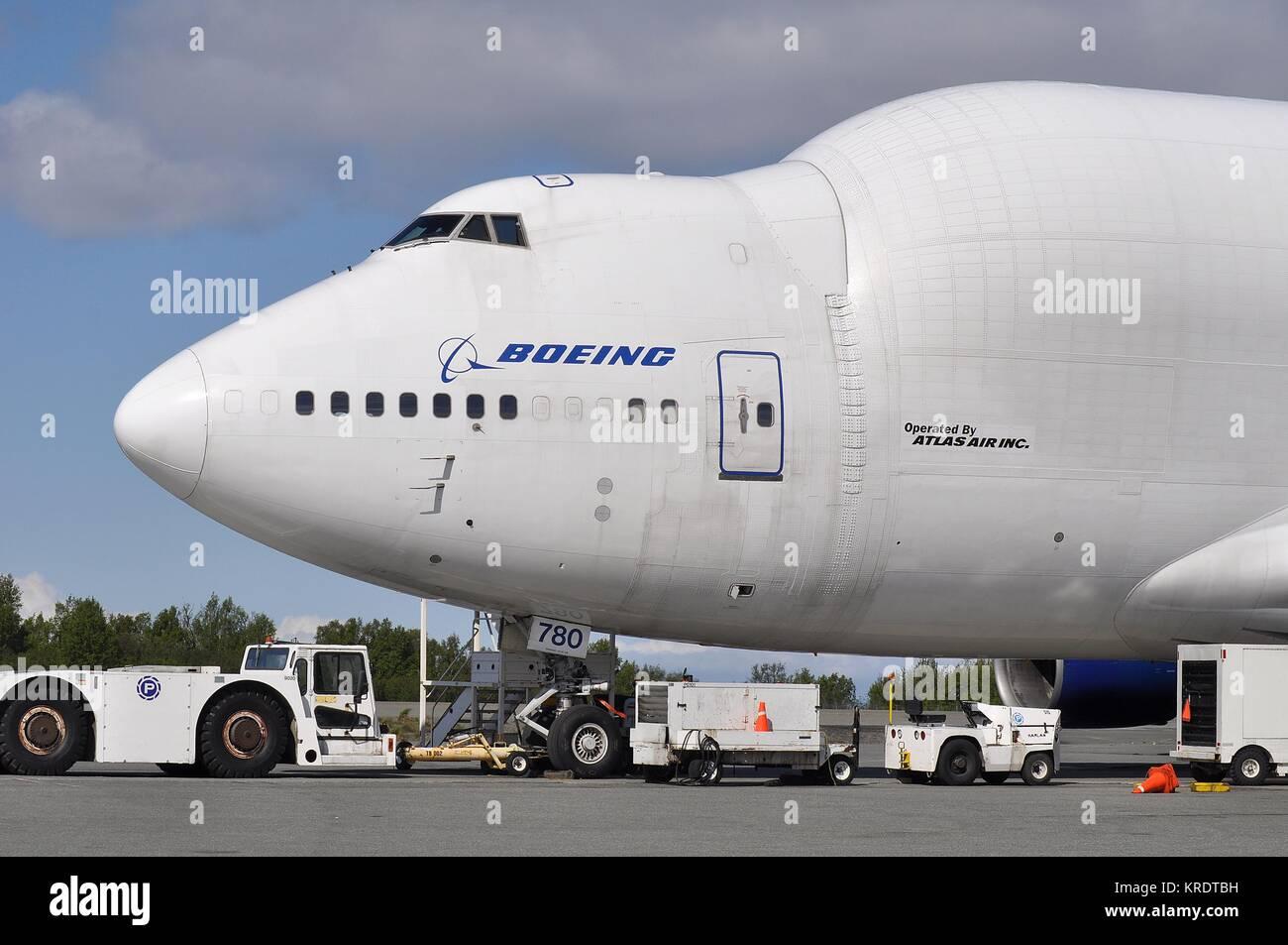 BOEING 747-400LCF DREAMLIFTER N780BA OF ATLAS AIR CARGO - Stock Image