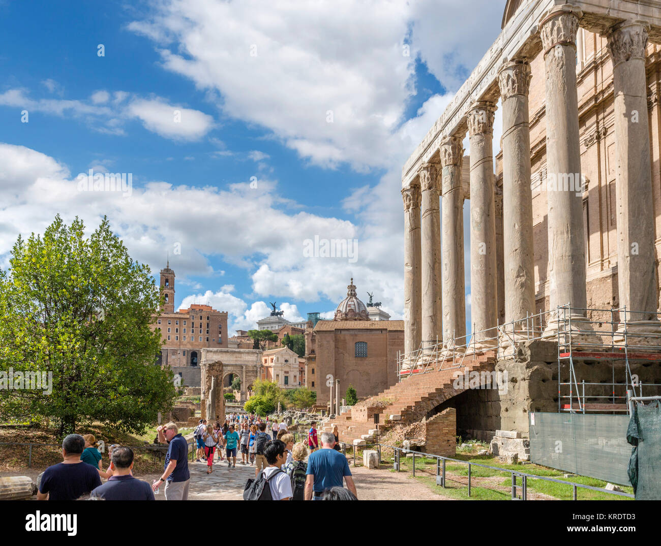 Rome, Forum. The Via Sacra with the Temple of Antoninus and Faustina to the right, Roman Forum (Foro Romano), Ancient - Stock Image