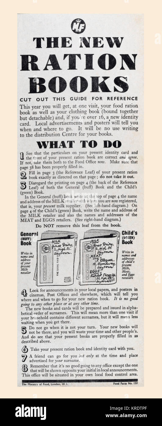 1943 advertisement giving advice on how to use the wartime ration books.   From The Daily Telegraph, May 18th, 1943. - Stock Image