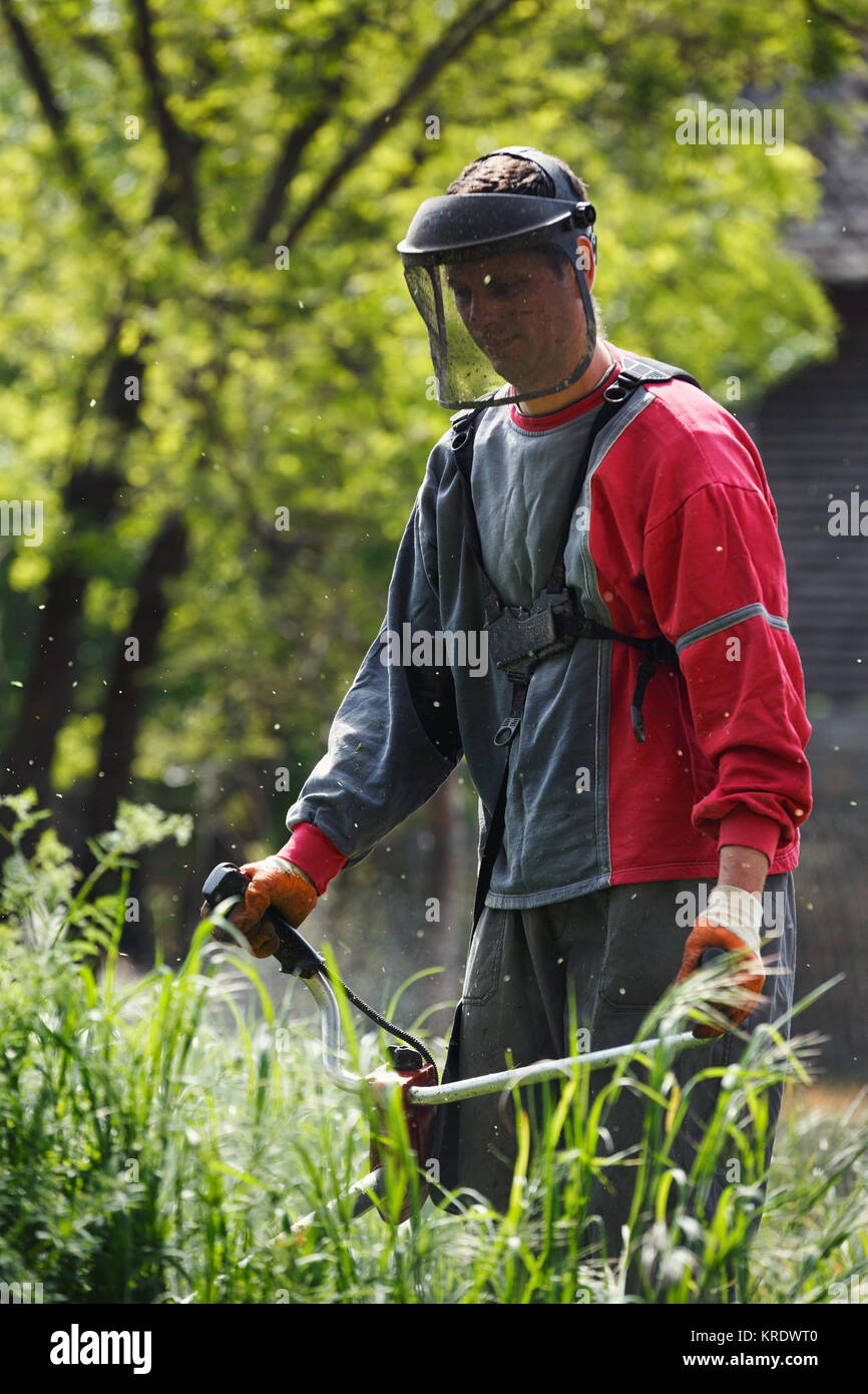 worker man with power tool string lawn trimmer mower cutting grass in garden - Stock Image