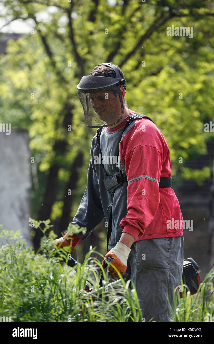 worker man with power tool string lawn trimmer mower cutting grass in garden closeup - Stock Image