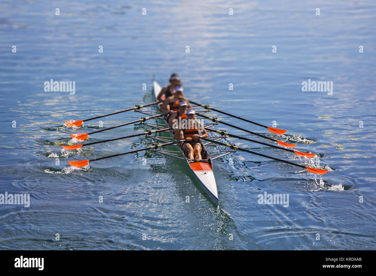 Team of rowing Four-oar women in boat - Stock Image