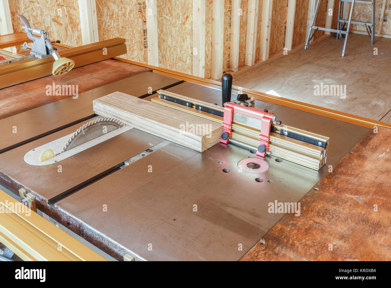 Miter fence on a table saw. Stock Photo