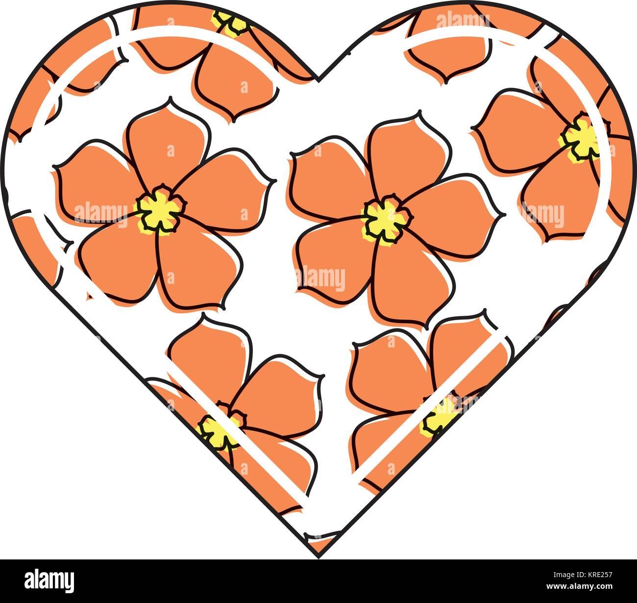heart love flower sakura traditional pattern - Stock Vector