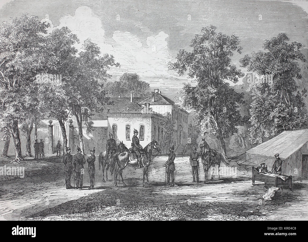 The headquarters of Prince Friedrich Karl to Corny at Metz during the siege, France, German-French War 1870/1871, - Stock Image