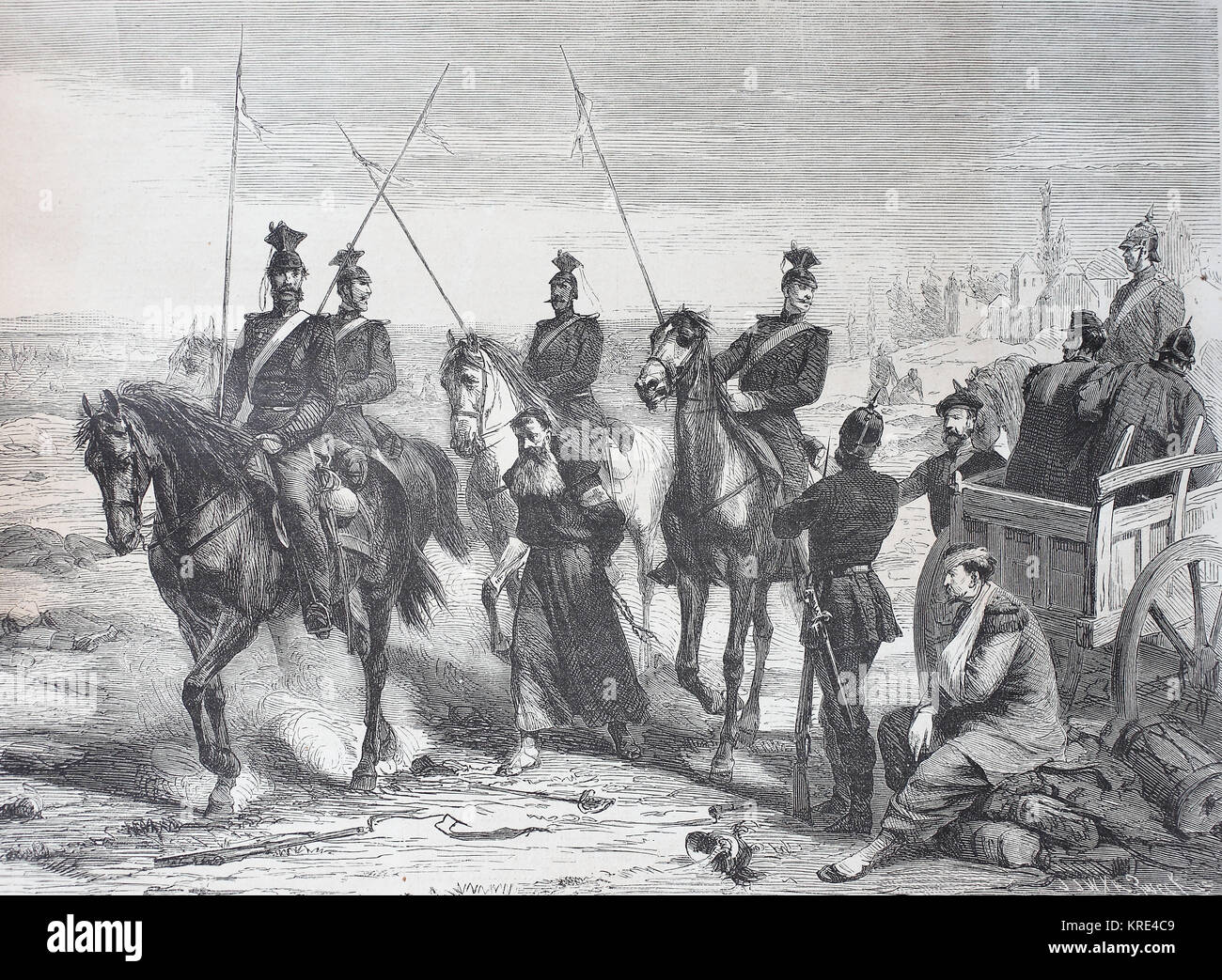 Capture of a French spy at Metz on August 23, 1870, France, German-French War 1870/1871, digital improved reproduction - Stock Image