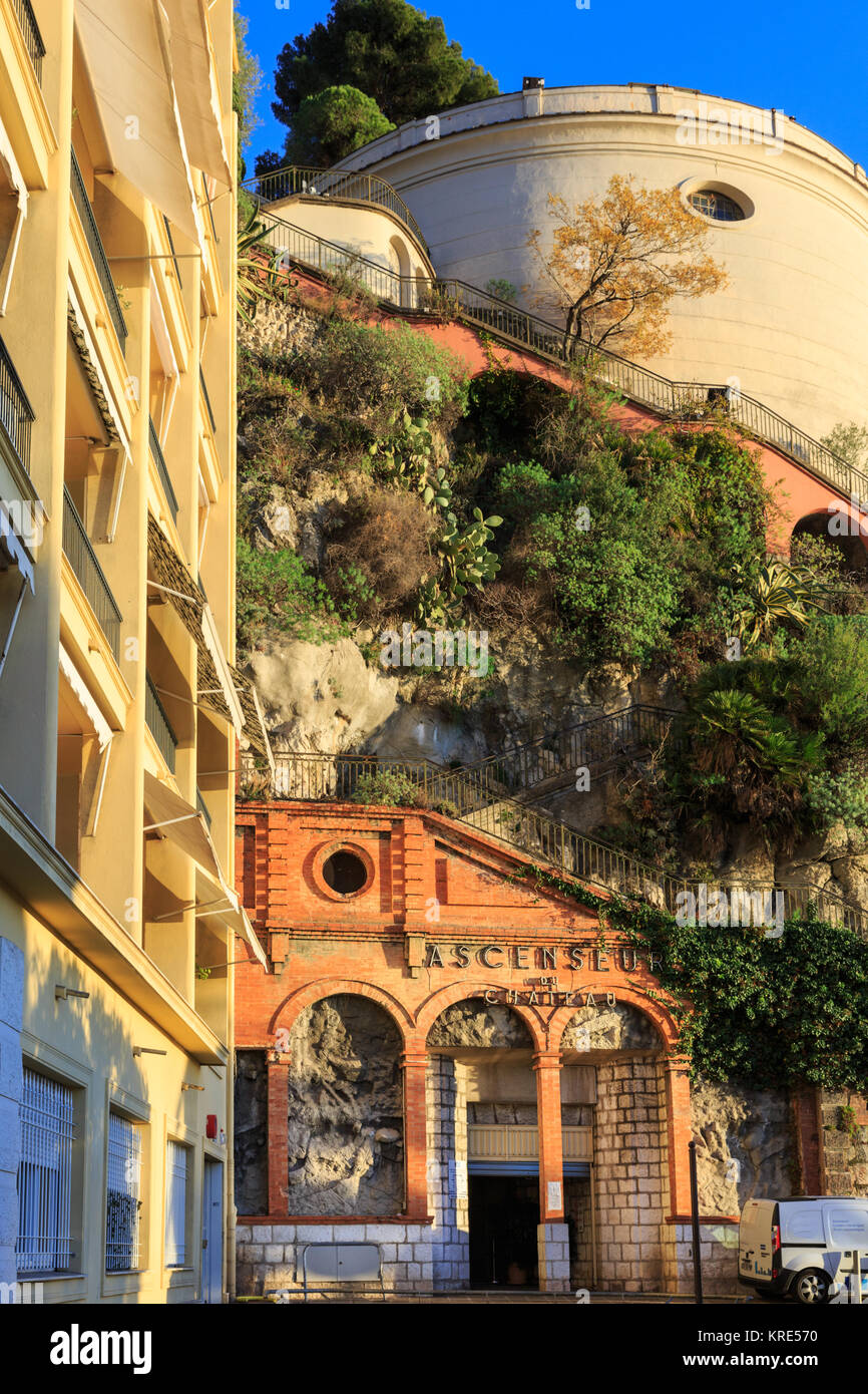 Ascenseur du Chateau, entrance to the elevator up to Castle Hill, Nice, France Stock Photo