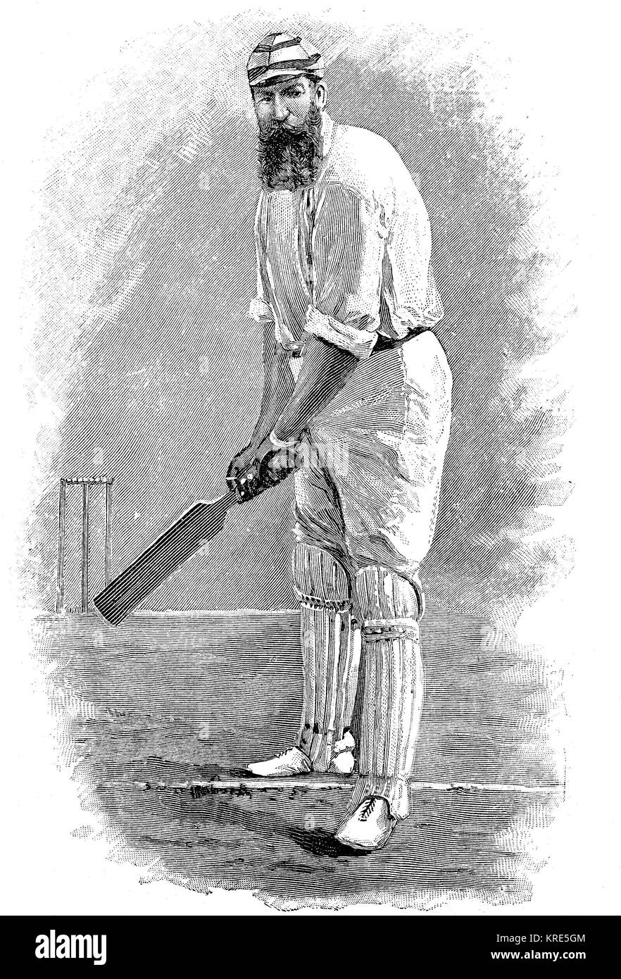 Man at the stroke, English cricket player, man in typical clothes and game attitude, c. 1870, digital improved reproduction - Stock Image