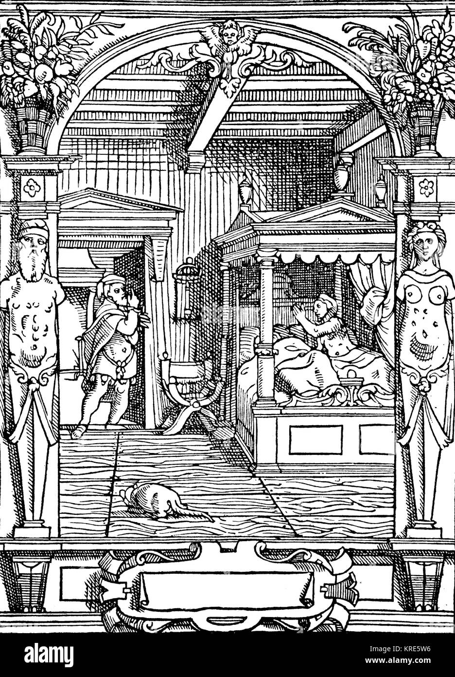 Adultery, illustration of adultery from a 16th century French law book, woman is waiting in bed and waiting for - Stock Image
