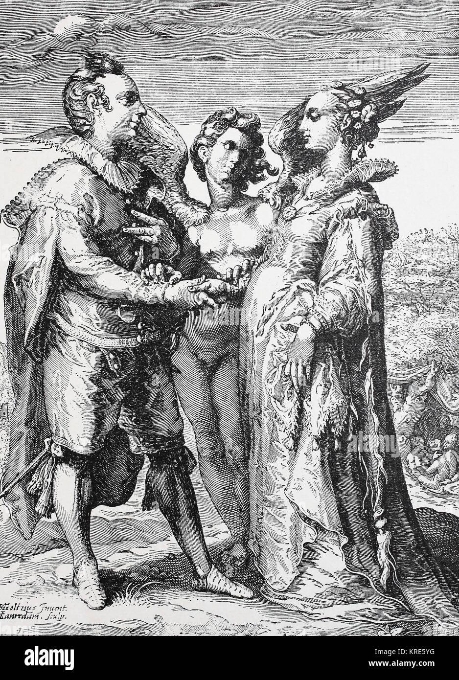 Man, woman and angel of love, symbolic representation of marriage for love, digital improved reproduction of a woodcut - Stock Image