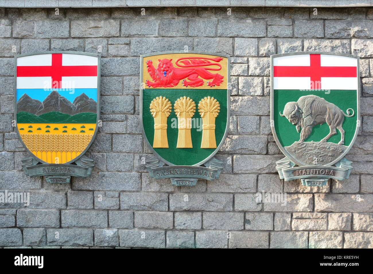 The coats of arms for the provinces of Alberta,Saskatchewan and Manitoba. - Stock Image