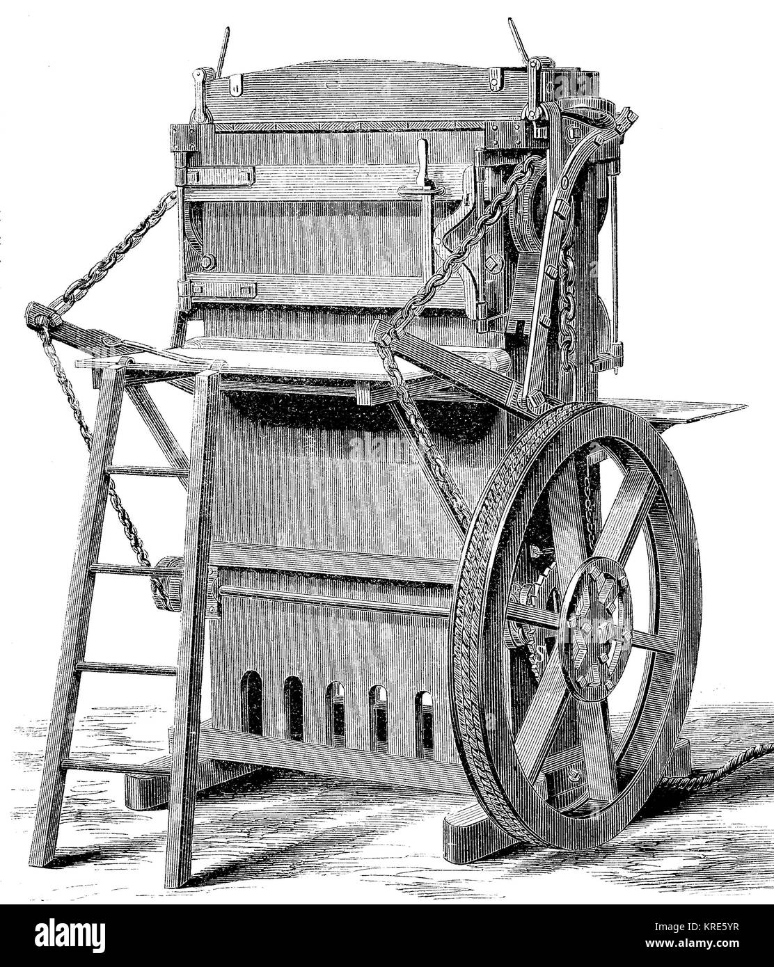 American baler for compressing loose products such as cotton, wool, hay, seaweed and the like, from Jacob Price, - Stock Image