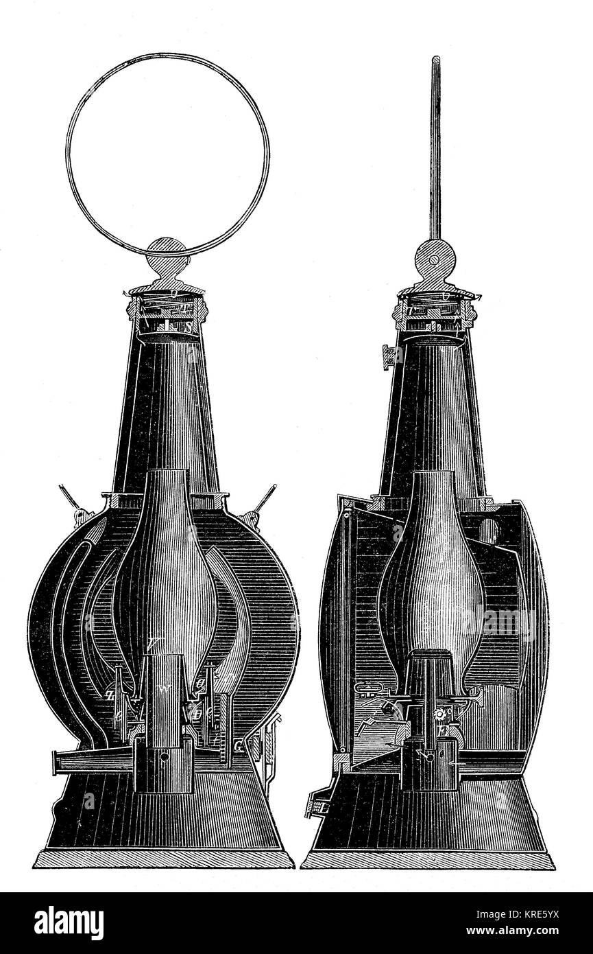 Fullers diving lantern, drawing of vertical means at right angles, lantern for underwater, digital improved reproduction - Stock Image