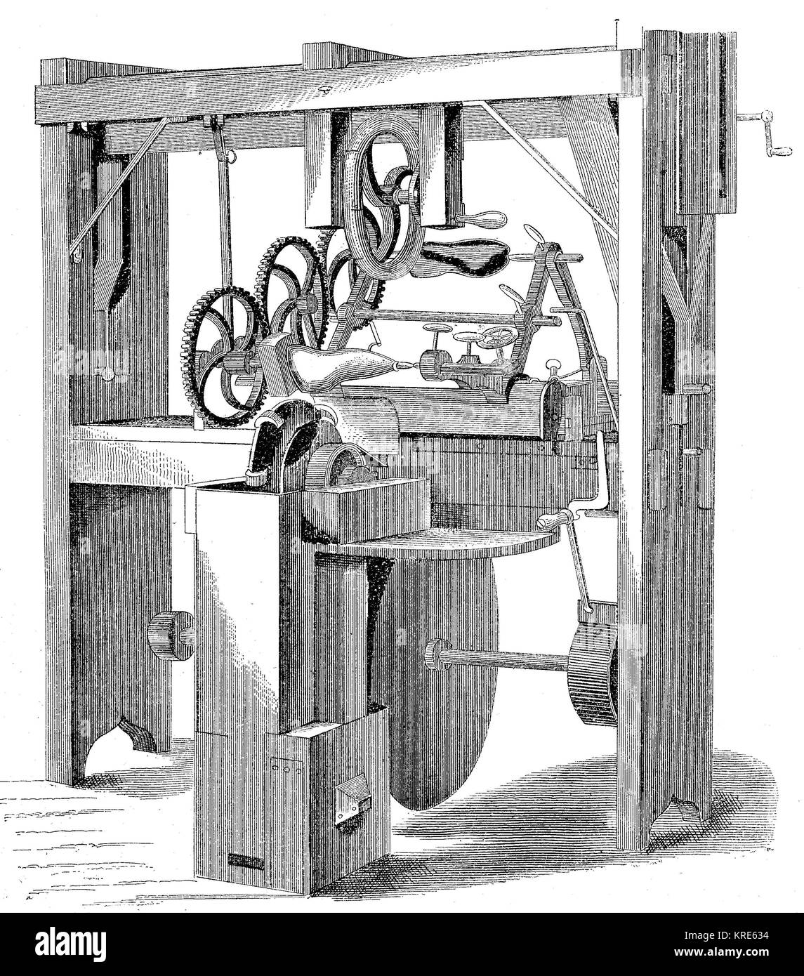 Machine for the automatic production of shoe lasts from J. W. Town, digital improved reproduction of a woodcut from - Stock Image