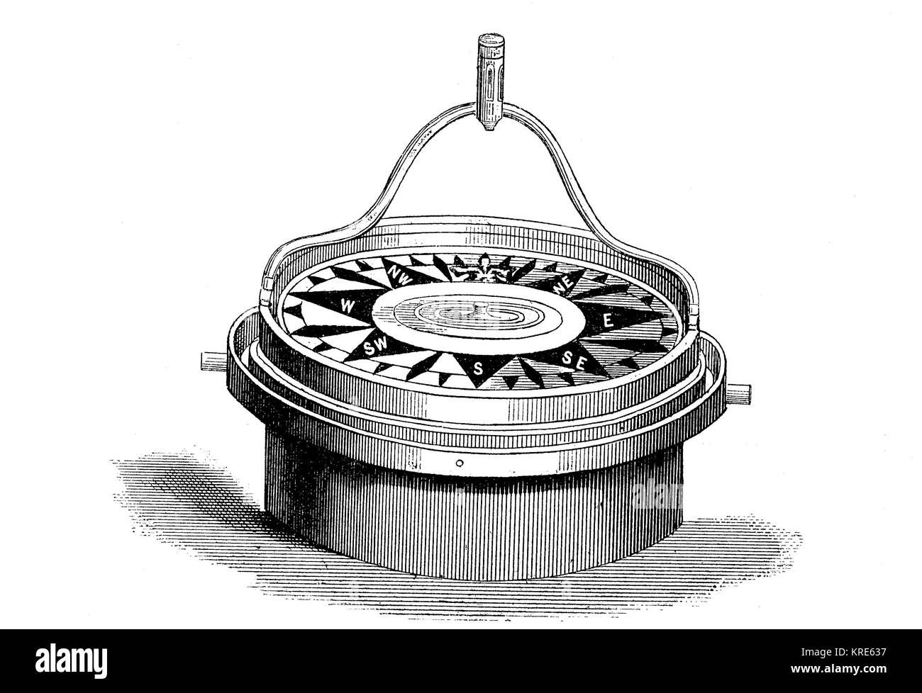 The improved floating compass for screw steamer by James Rahill, digital improved reproduction of a woodcut from Stock Photo