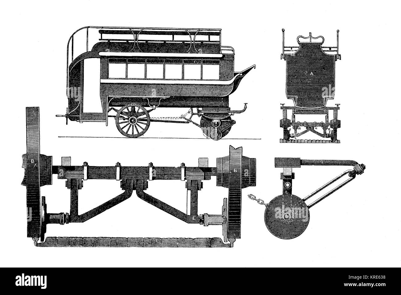 Various views of a Border wagon, a bus for rails and road, engineering, industrial product from the year 1880, digital - Stock Image