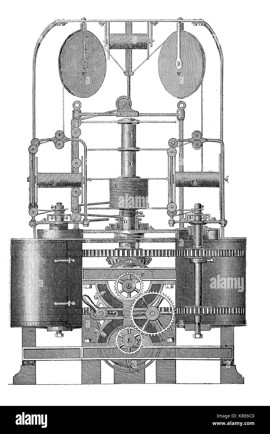 Broomans machine, for the production of ropes and ropes, rope-turning machine, industrial product from the year - Stock Image