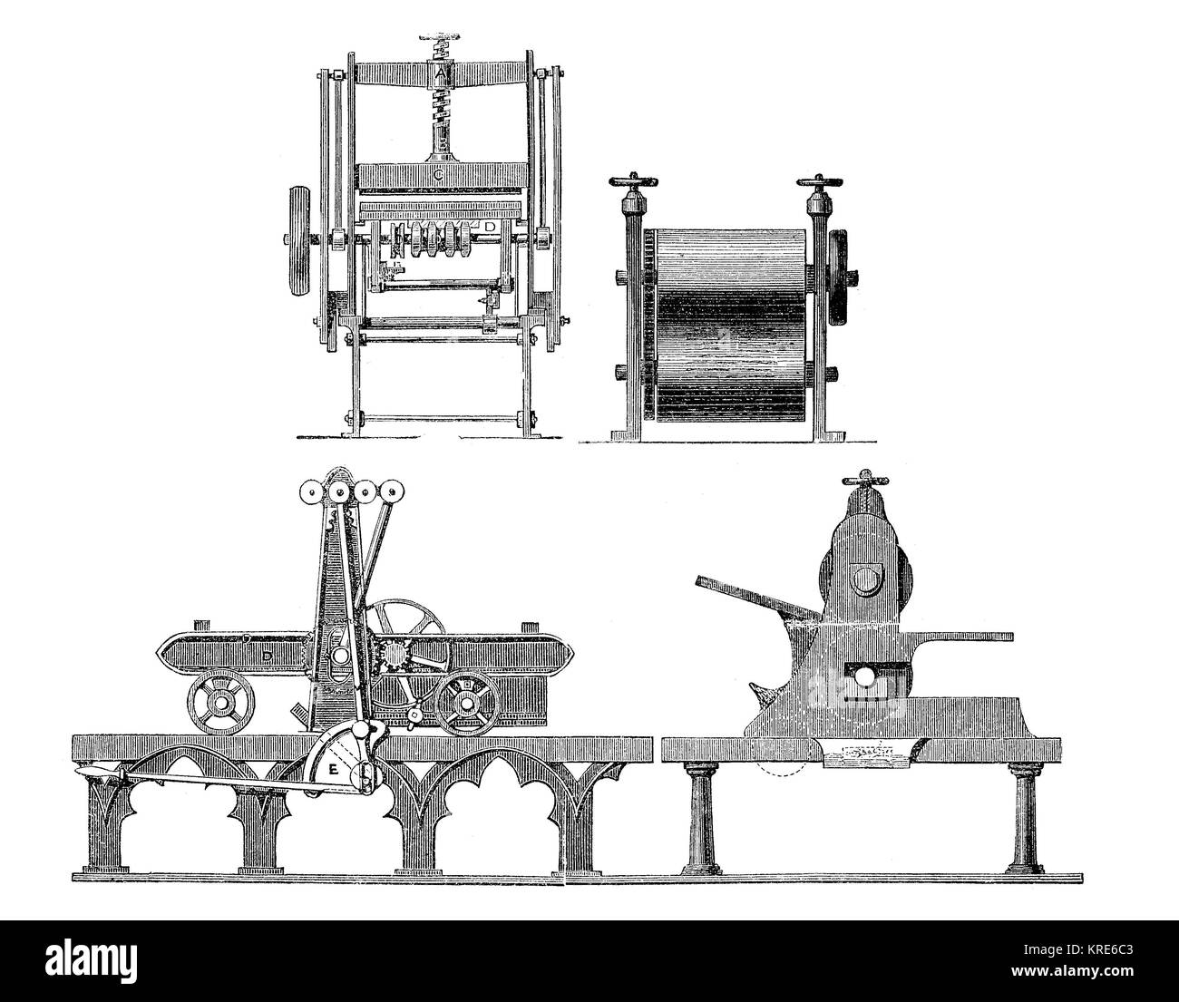 Print Engineering 1863 Charles Worssam Lithographic Press Machinery, drawing of the different views, industrial - Stock Image