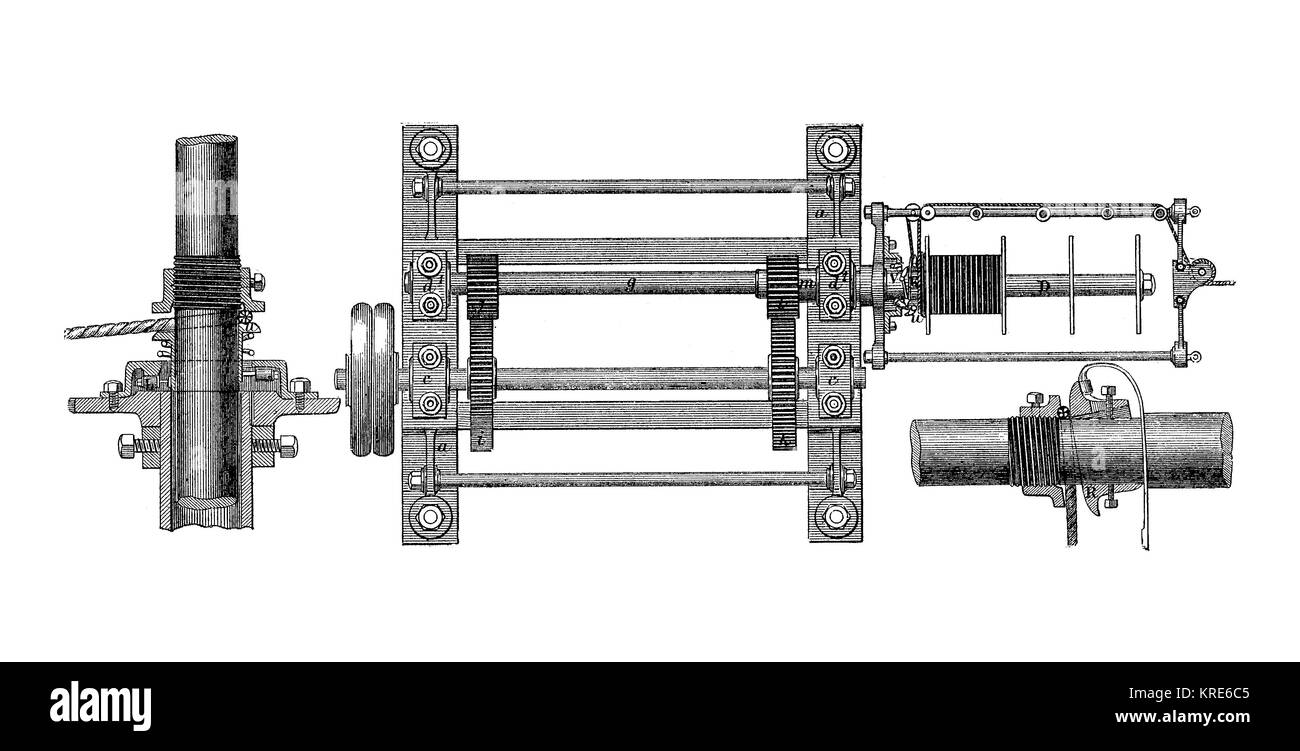 Broomans machine, for the production of ropes, rope-turning machine, industrial product from the year 1880, digital - Stock Image