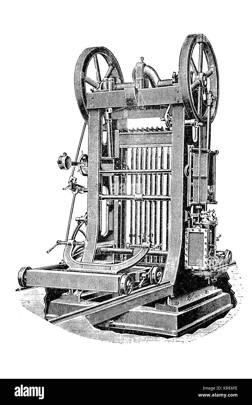 Heavy block gang saw, for disassembling and cutting teak trunks and hardwood trunks, industrial product from the - Stock Image