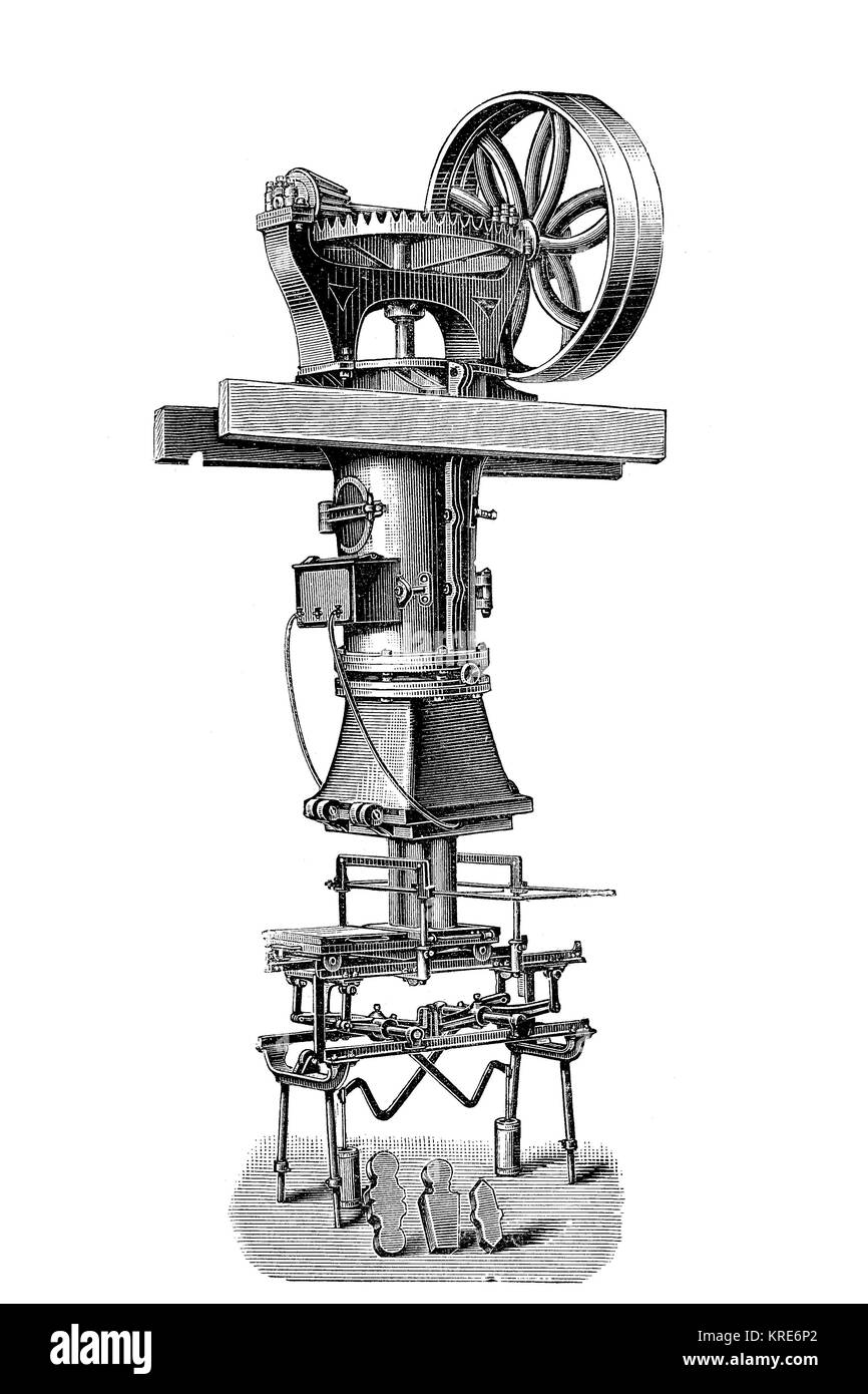 Universal tile machine from Emil Flach, makes various brick shapes, industrial product from the year 1880, digital - Stock Image