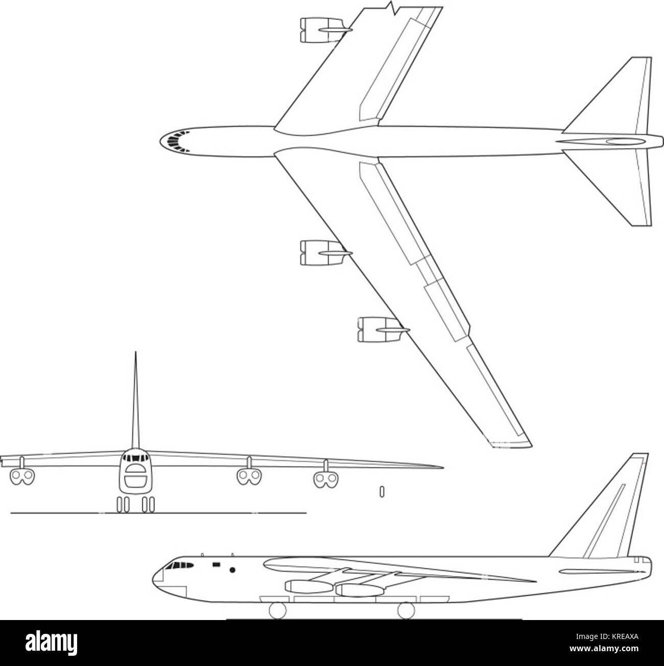 B-52 3-view Stock Photo: 169346306 - Alamy