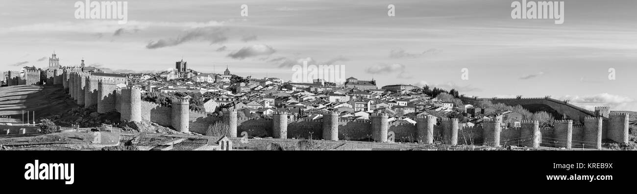 Overview of Avila in black and white. - Stock Image