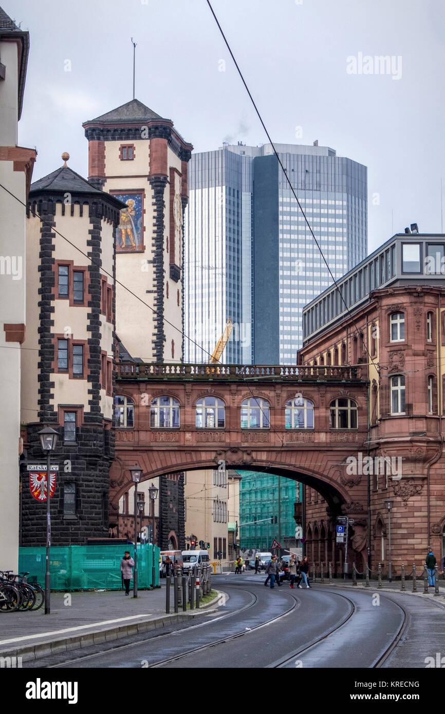 Frankfurt, Germany.Römer Town Hall towers, Seufzerbrücke or Bridge of Sighs & modern Eurotower High - Stock Image