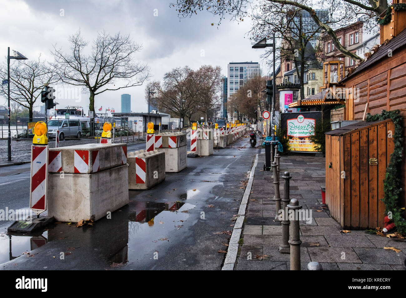 Frankfurt, Germany,Concrete blocks form security barriers to protect Xmas market from Terrorist vehicle attack - Stock Image