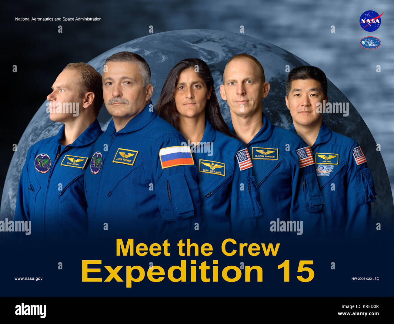 Expedition 15 crew poster - Stock Image