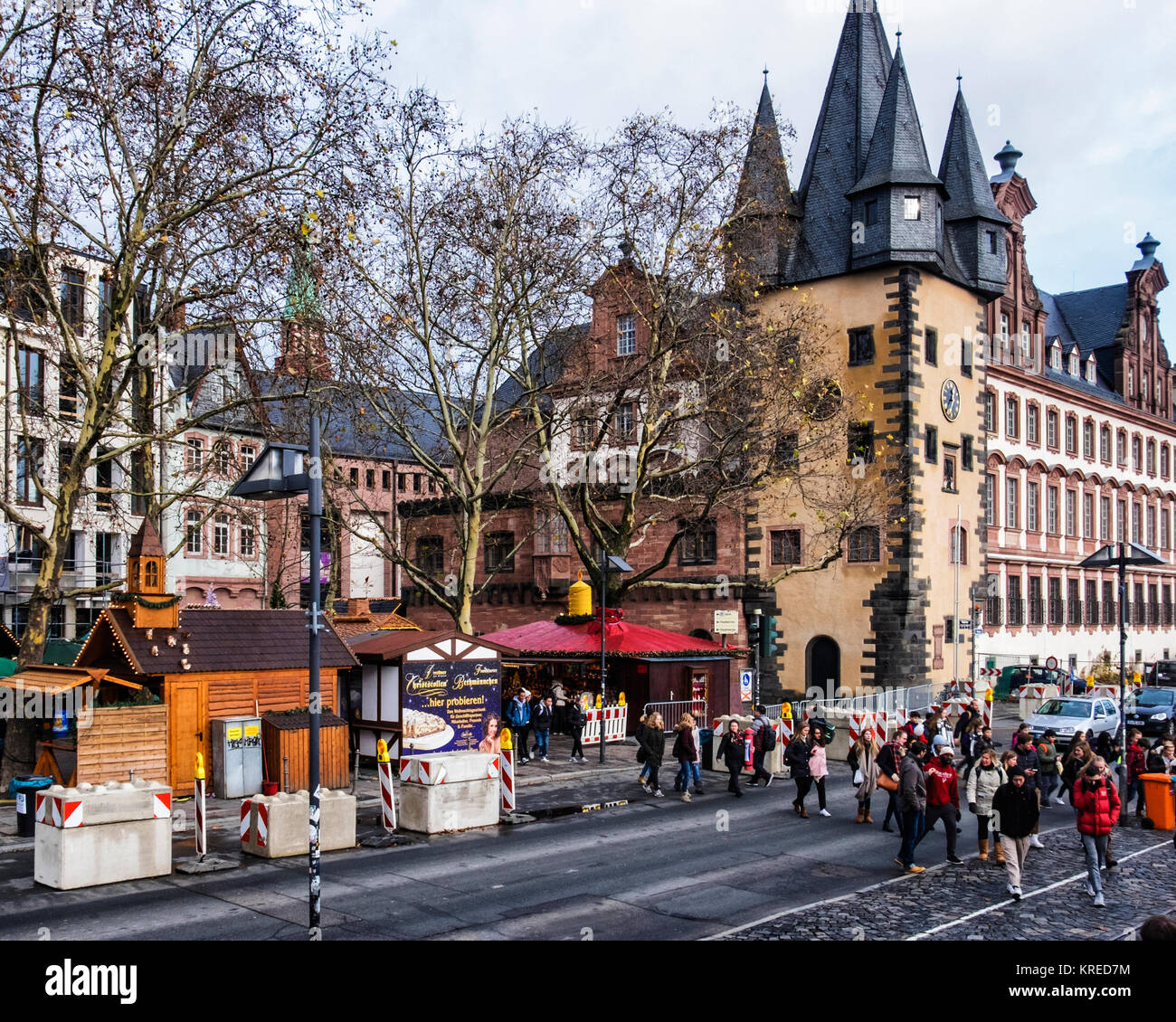 Frankfurt, Germany,History museum builing & Concrete blocks form security barriers to protect Xmas market from - Stock Image