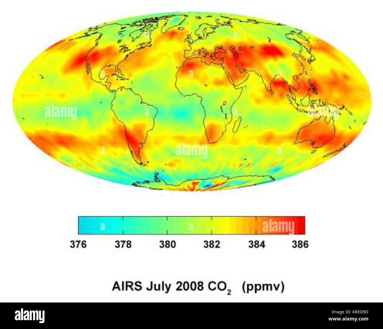 Global carbon dioxide AIRS - Stock Image