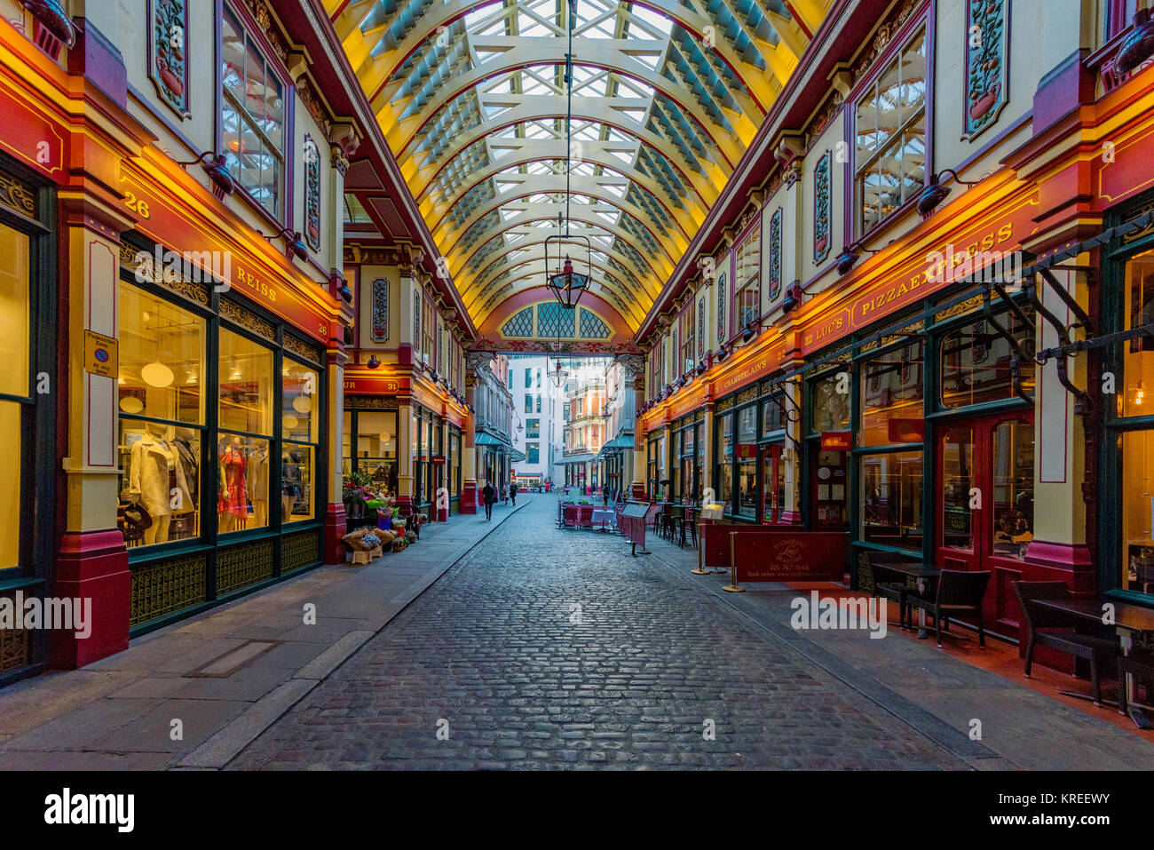 LONDON, UNITED KINGDOM - NOVEMBER 06: View of Leadenhall Market, a famous shopping arcade with traditional British - Stock Image