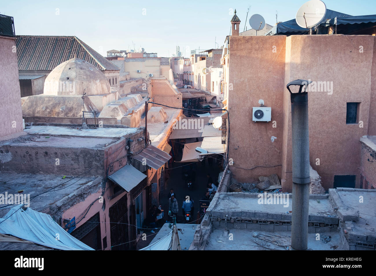 Top view of alley in Marrakech with skyline Stock Photo