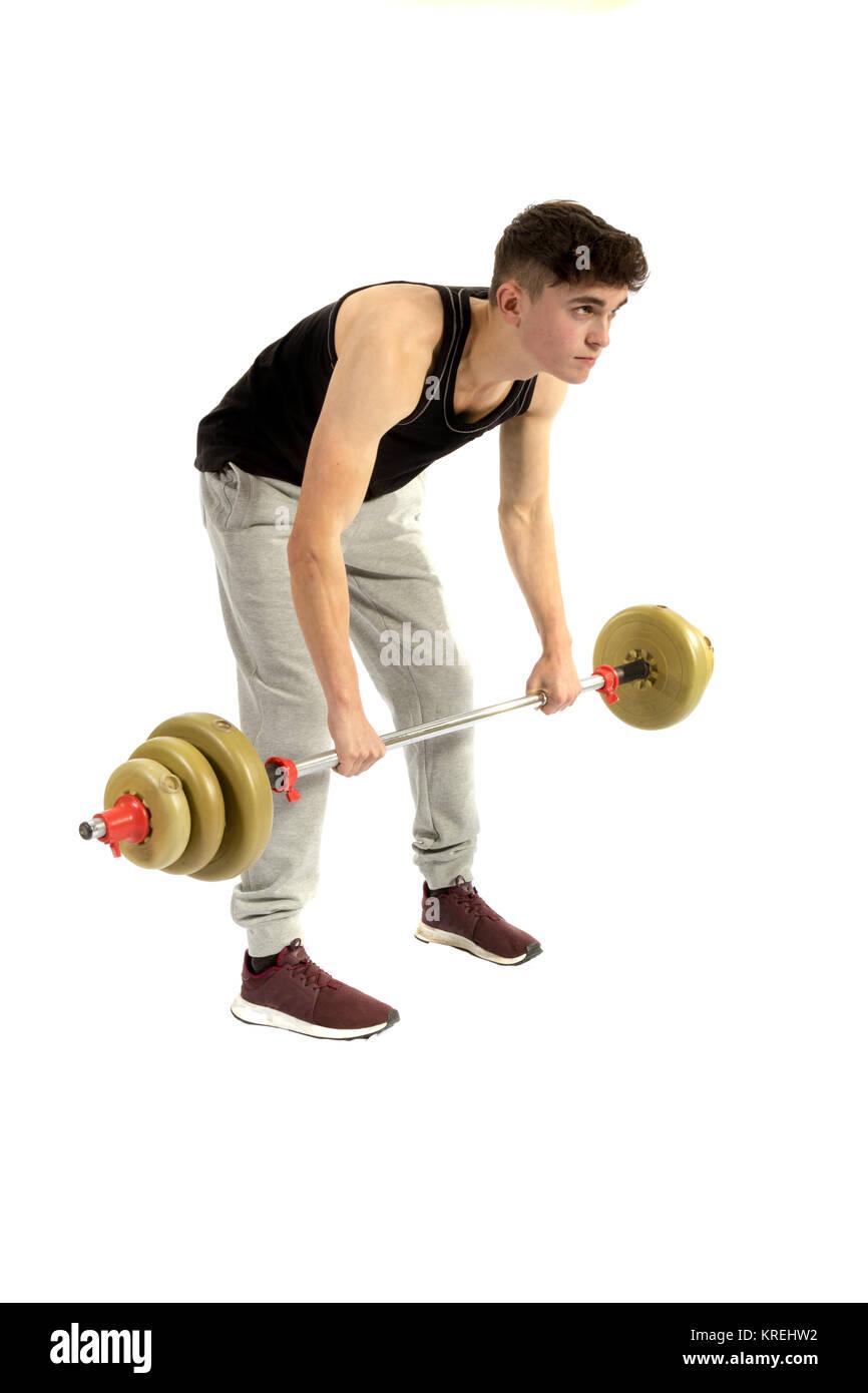 18 year old teenage boy doing exercise - Stock Image
