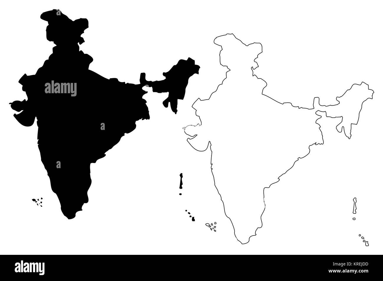 India map vector illustration, scribble sketch Republic of India - Stock Vector