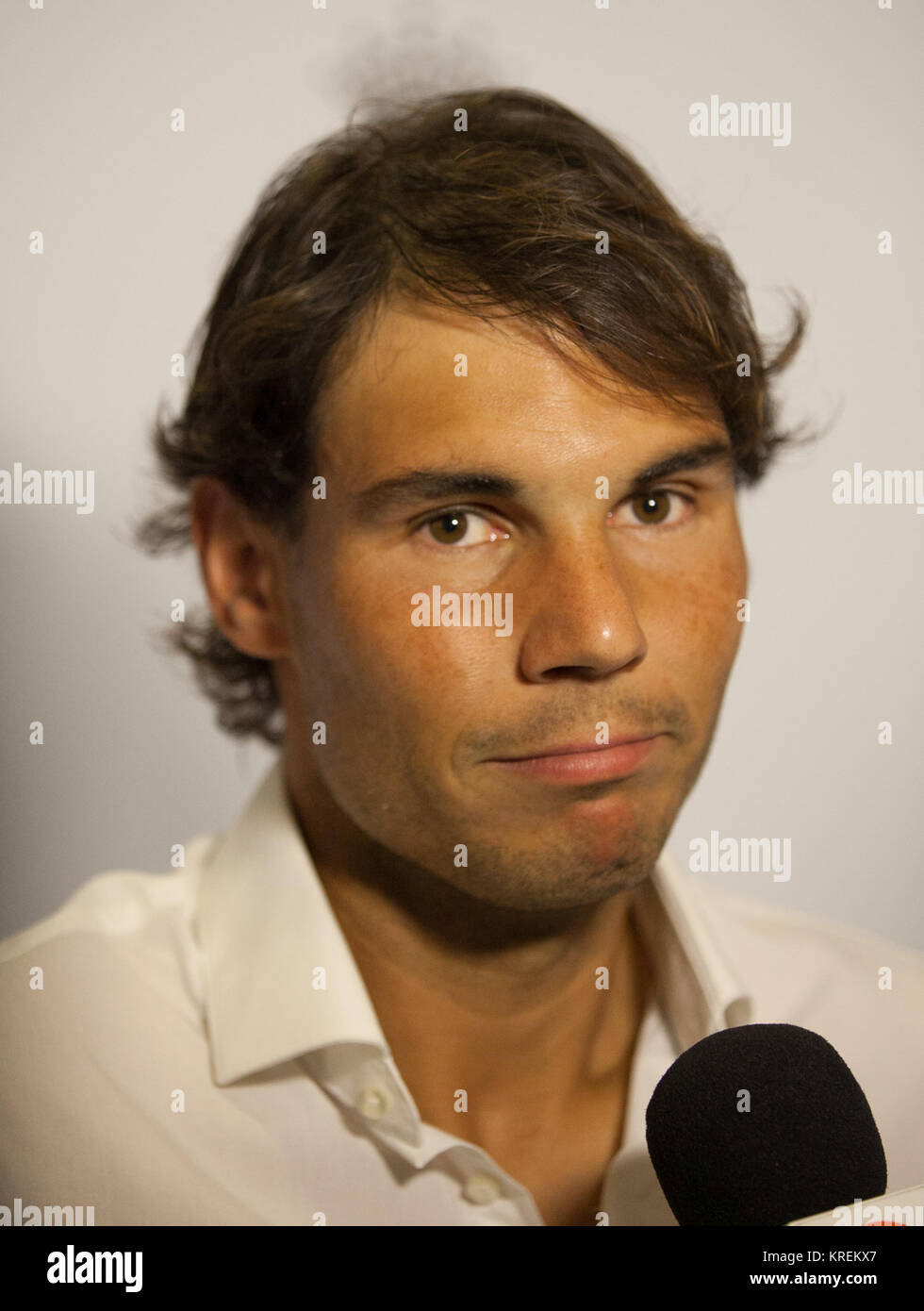 MELBOURNE, AUSTRALIA - JANUARY 18: Rafael Nadal of Spain arrives for Crown's IMG@23 Tennis Players' Party at Crown Stock Photo