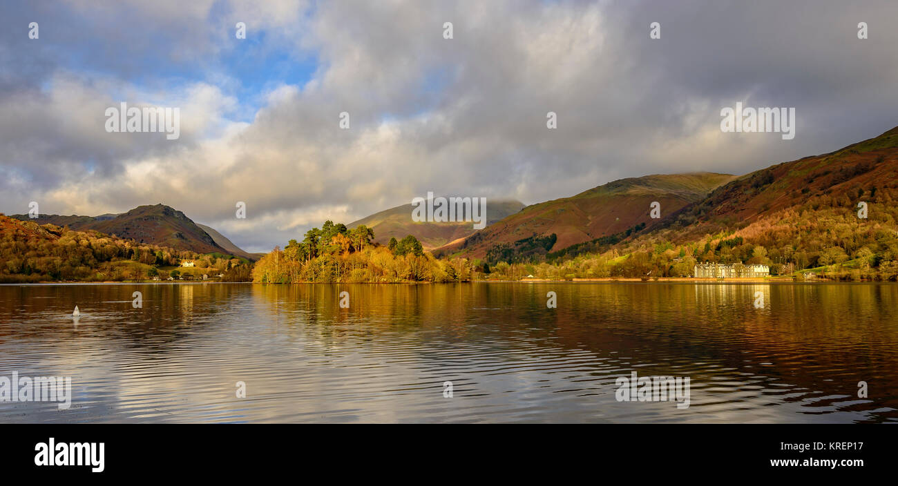 Winter sunshine on Grasmere - Stock Image