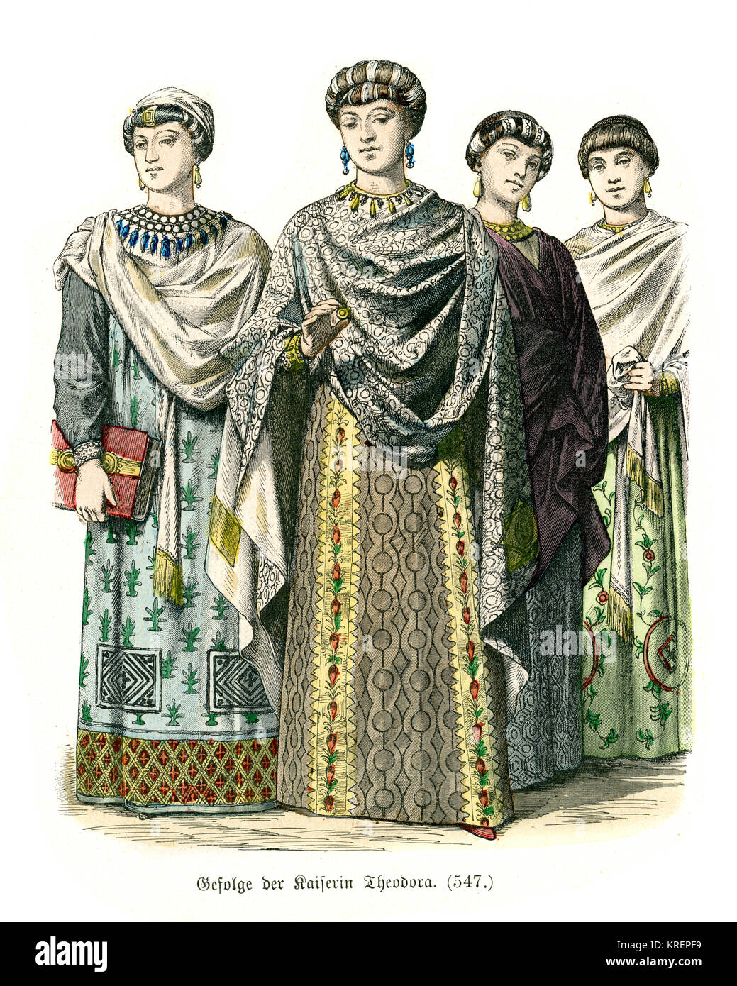 Vintage engraving of Fashions of the Byzantine Empire, 6th Century. Retinue of the Empress Theodora - Stock Image