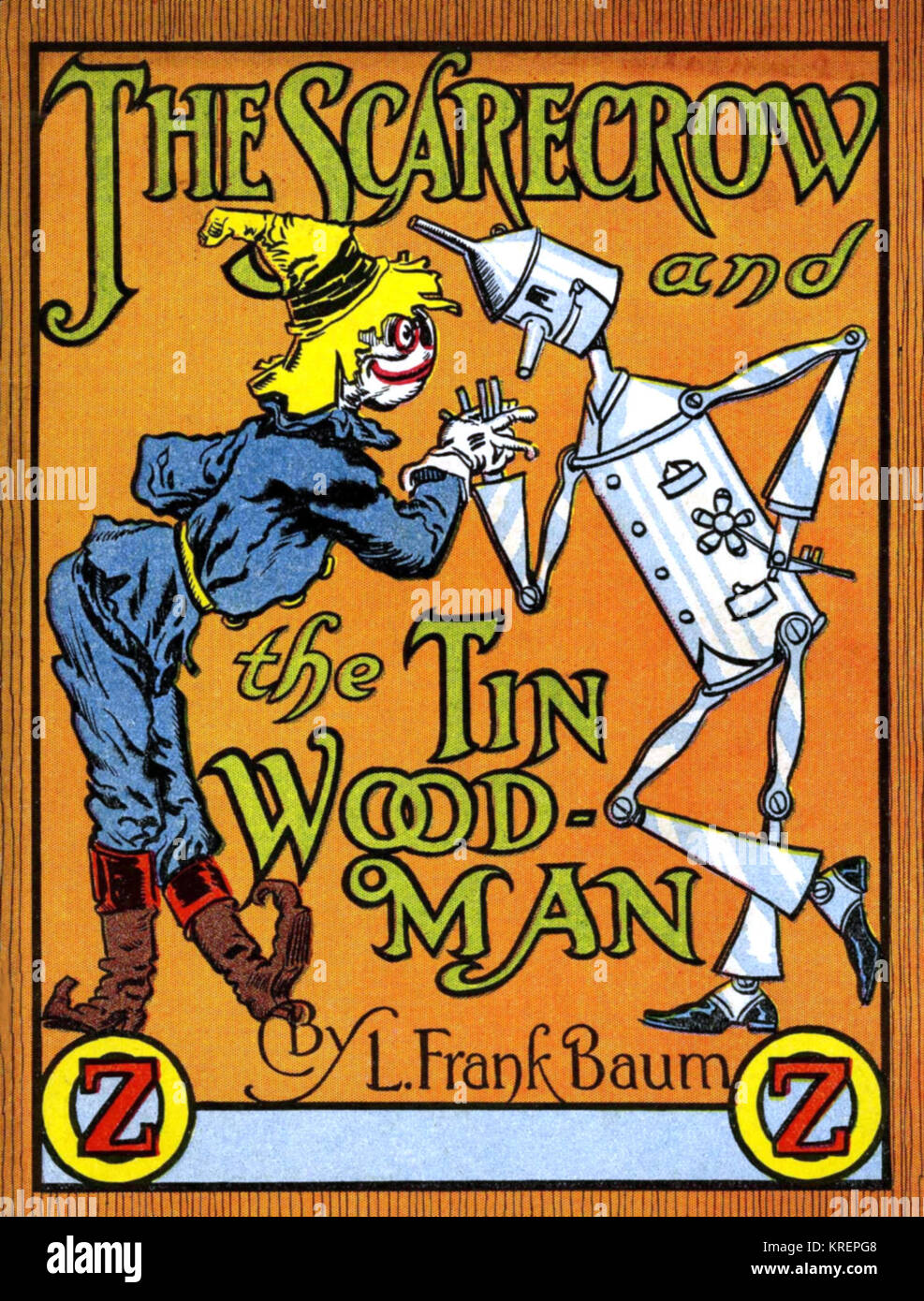 """""""Cover to a pamphlet version of """"""""The Scarecrow and the Tin Wood-Man"""""""" from 1933.  Jack Pumpkinhead is a fictional Stock Photo"""