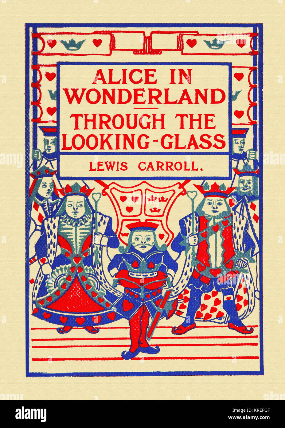 'Lewis Carroll's book cover to ''Alice's Adventures in Wonderland & Through the Looking - Stock Image