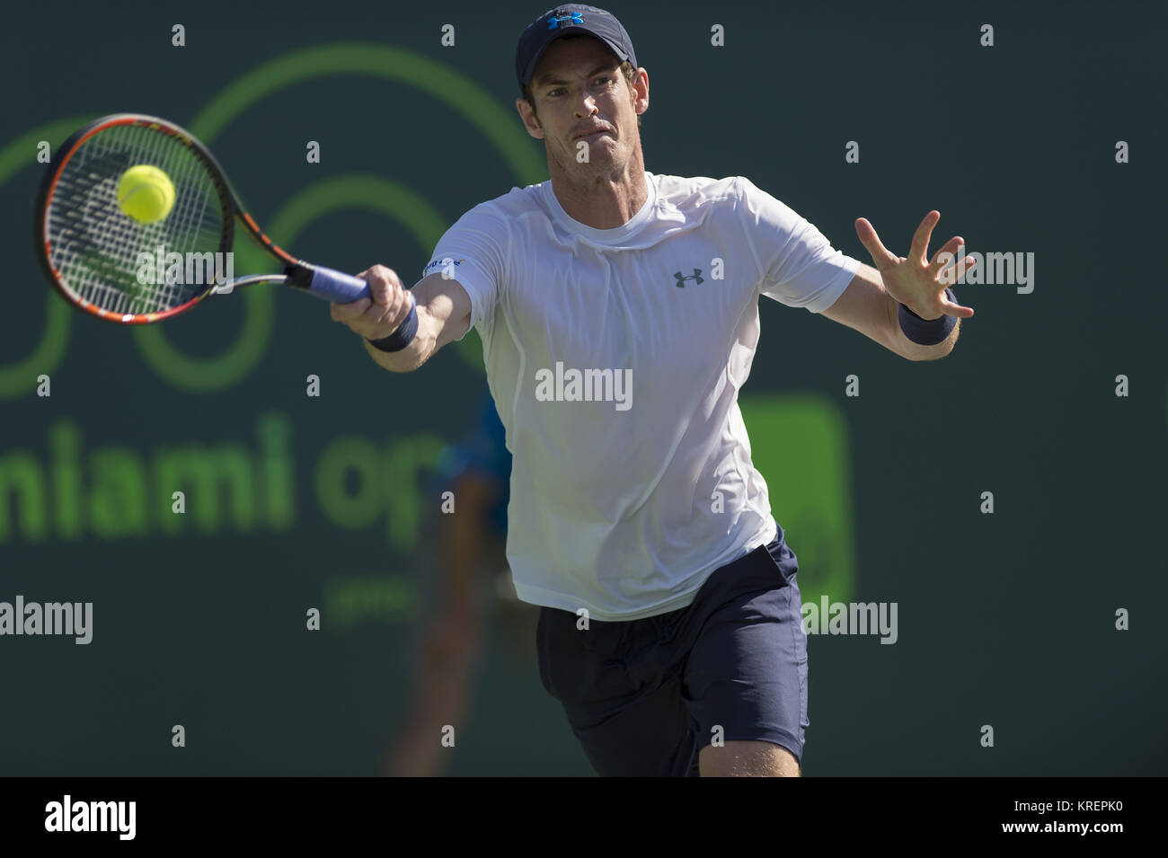 KEY BISCAYNE, FL - MARCH 31: Andy Murray of Great Britain celebrates match point and his 500th ATP Tour victory - Stock Image