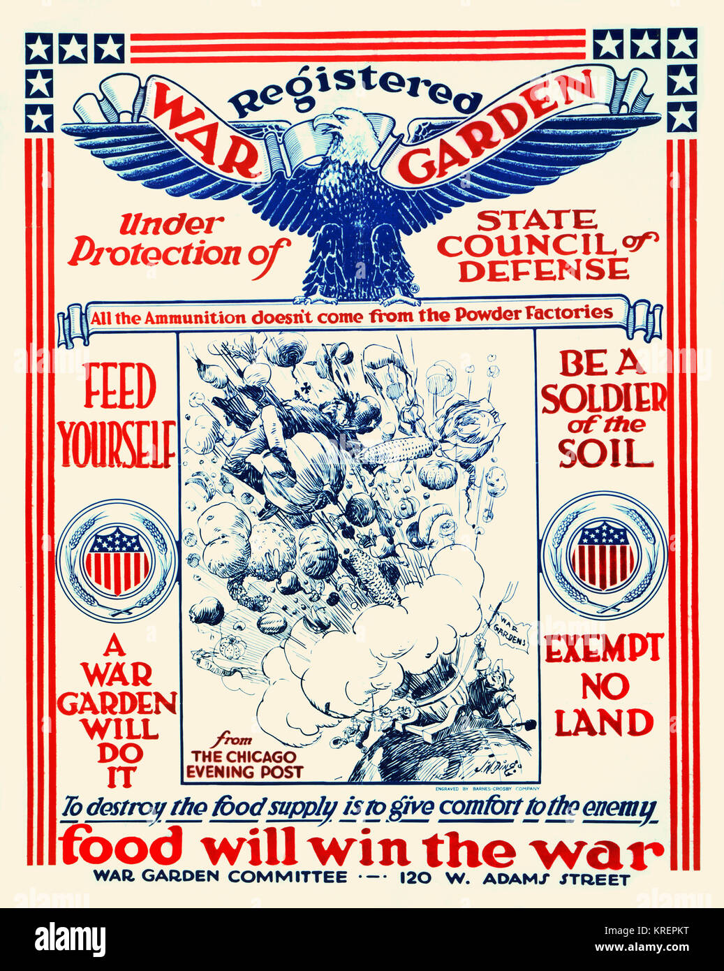 'Poster showing a cartoon from the Chicago Evening Post of a farmer waving a banner ''War Gardens'' - Stock Image