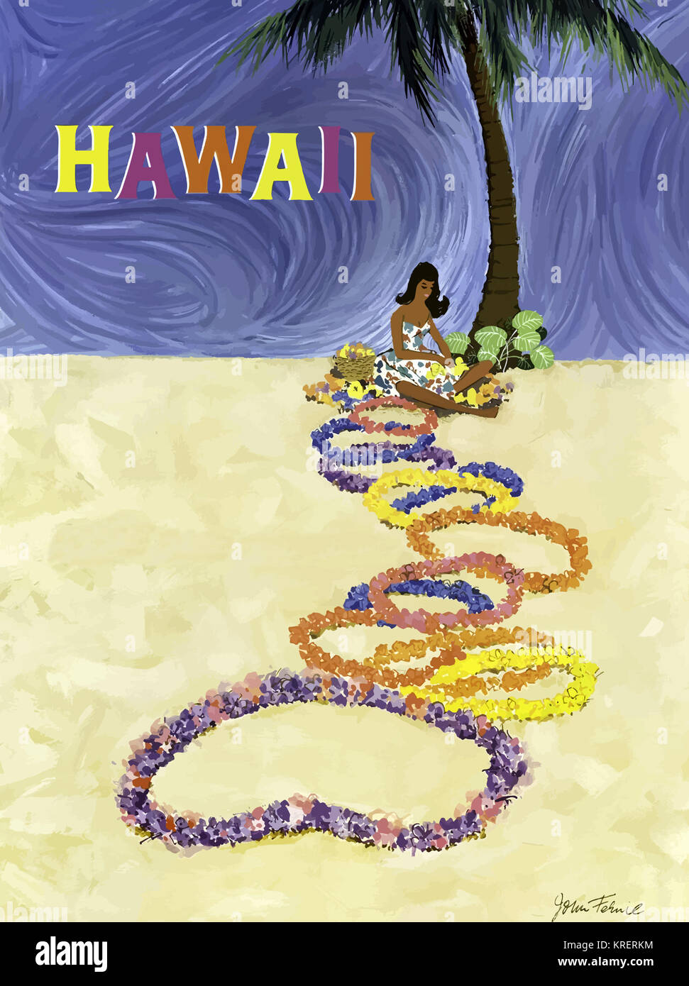 Hawaii - Lei on the Sand - Stock Image