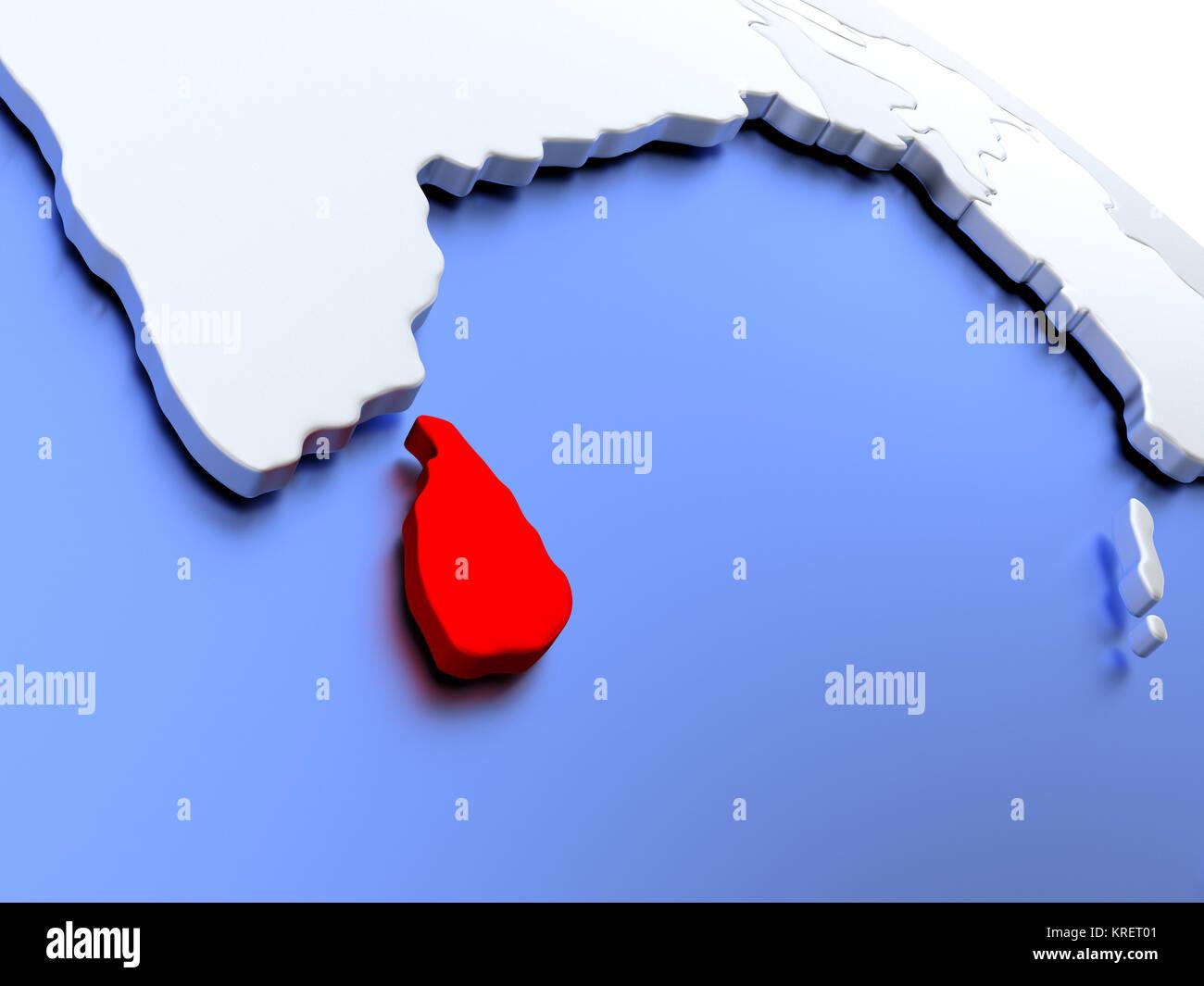 Sri Lanka on world map Stock Photo: 169356545 - Alamy