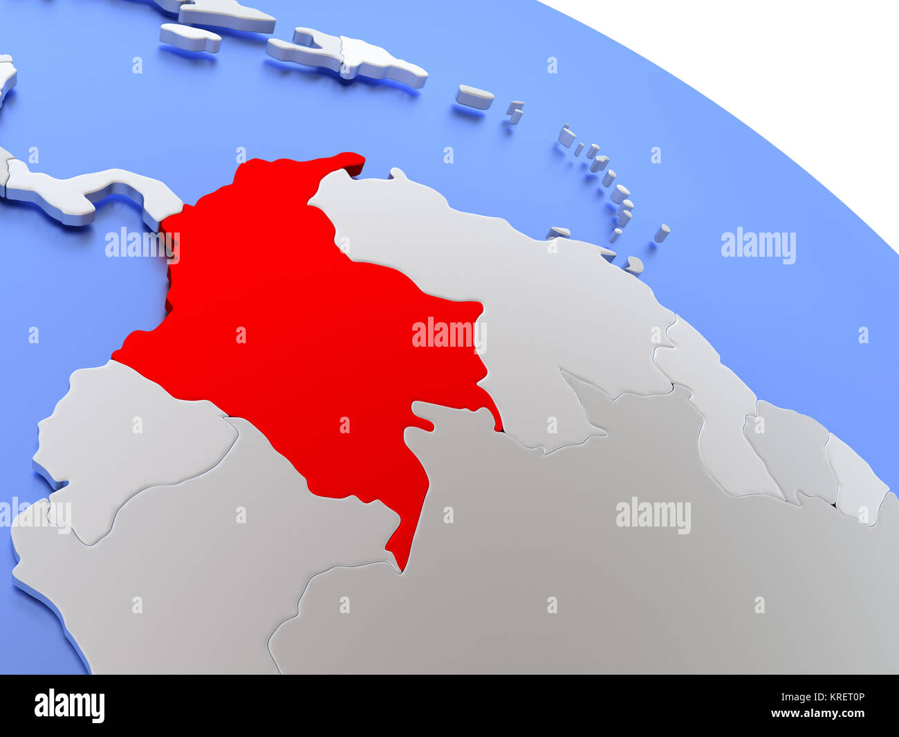 Colombia on world map Stock Photo: 169356566 - Alamy