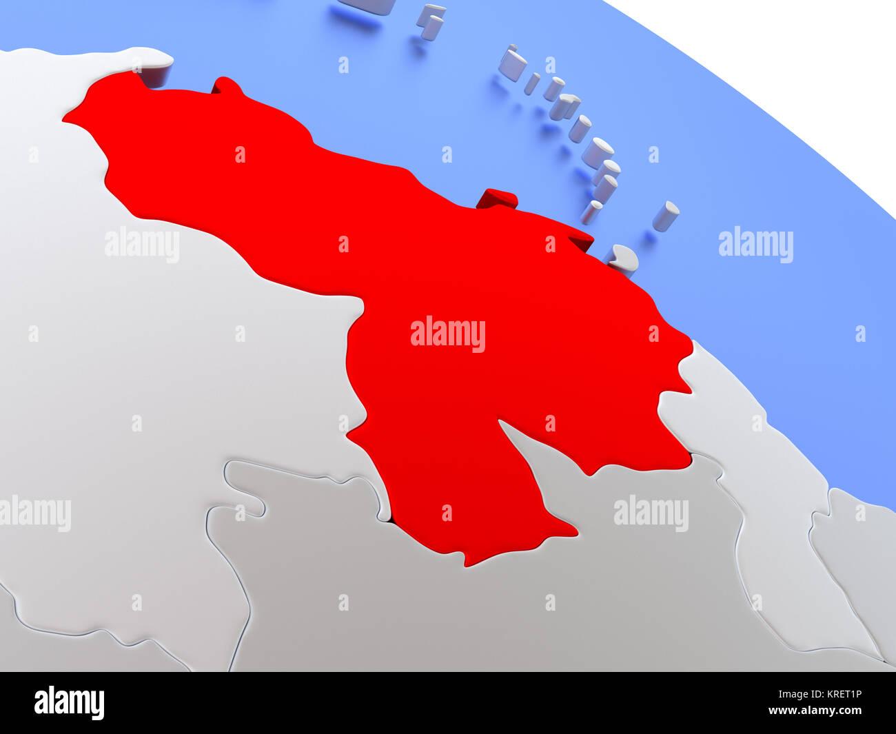 Venezuela on world map Stock Photo: 169356594 - Alamy